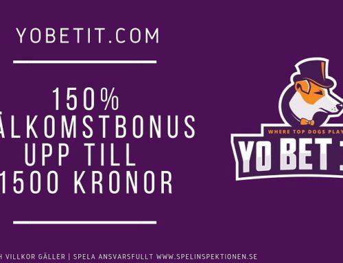 150% upp till 1500 kr hos Yo Bet it